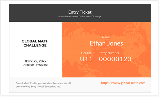example entry ticket